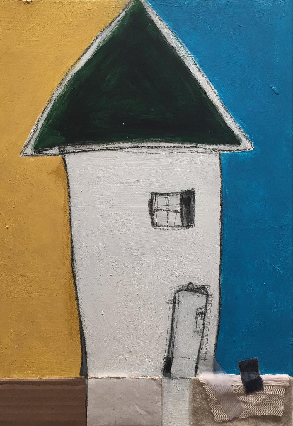 "Beach House #3 , oil, acrylic, pencil, pastel, crayon, felt, nylon, cardboard, tape, tar, shellac on clay board, 16"" x 12"", $750"