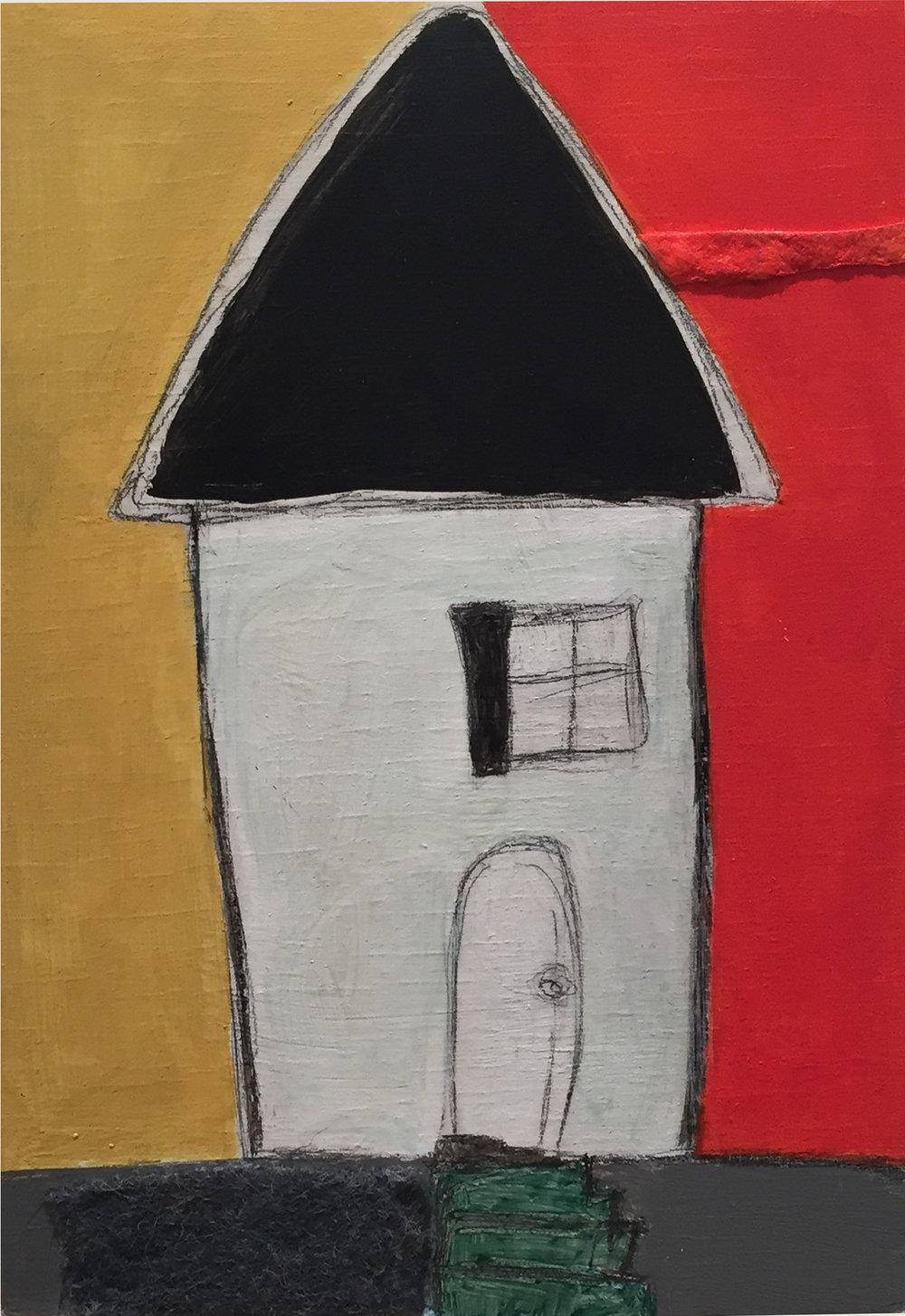 "Vicinity #1 , oil, acrylic, pencil, pastel, crayon, paper, felt, tar, shellac on wood, 7"" x 5"", $300"