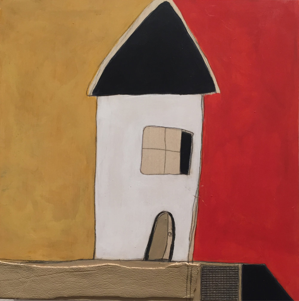 """Vicinity #2 , oil, acrylic, pencil, pastel, crayon, paper, leather, screen, tar, shellac on wood, 8"""" x 8"""", $425"""