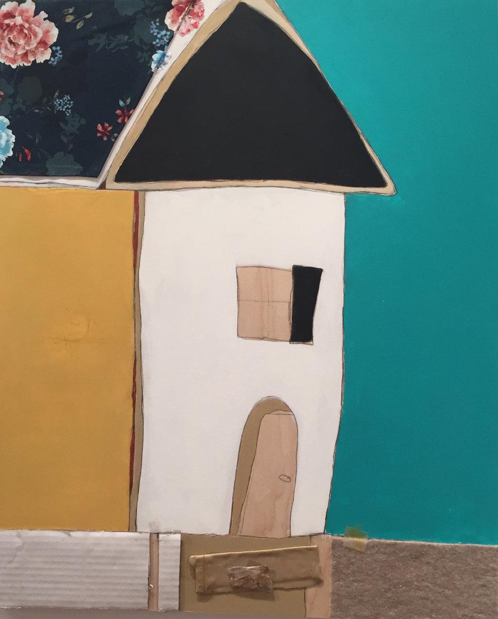"Vicinity #4 , oil, acrylic, pencil, pastel, crayon, felt, fabric, leather, cardboard, tape, tar, shellac on wood, 24"" x 20"", $1,450"