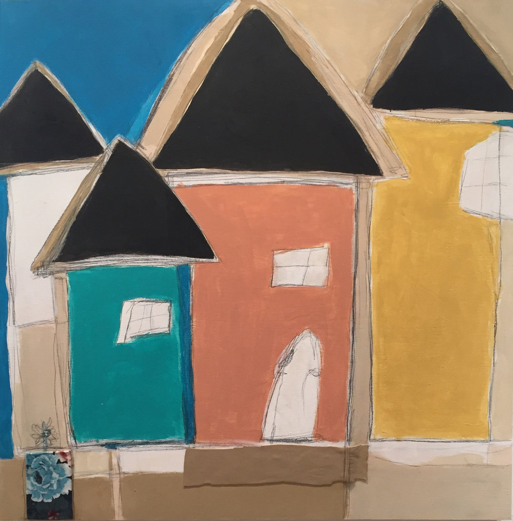 """Vicinity #5 , oil, acrylic, pencil, pastel, crayon, fabric, leather, painter's tape, tar, shellac on wood, 24"""" x 24"""", $1,600"""