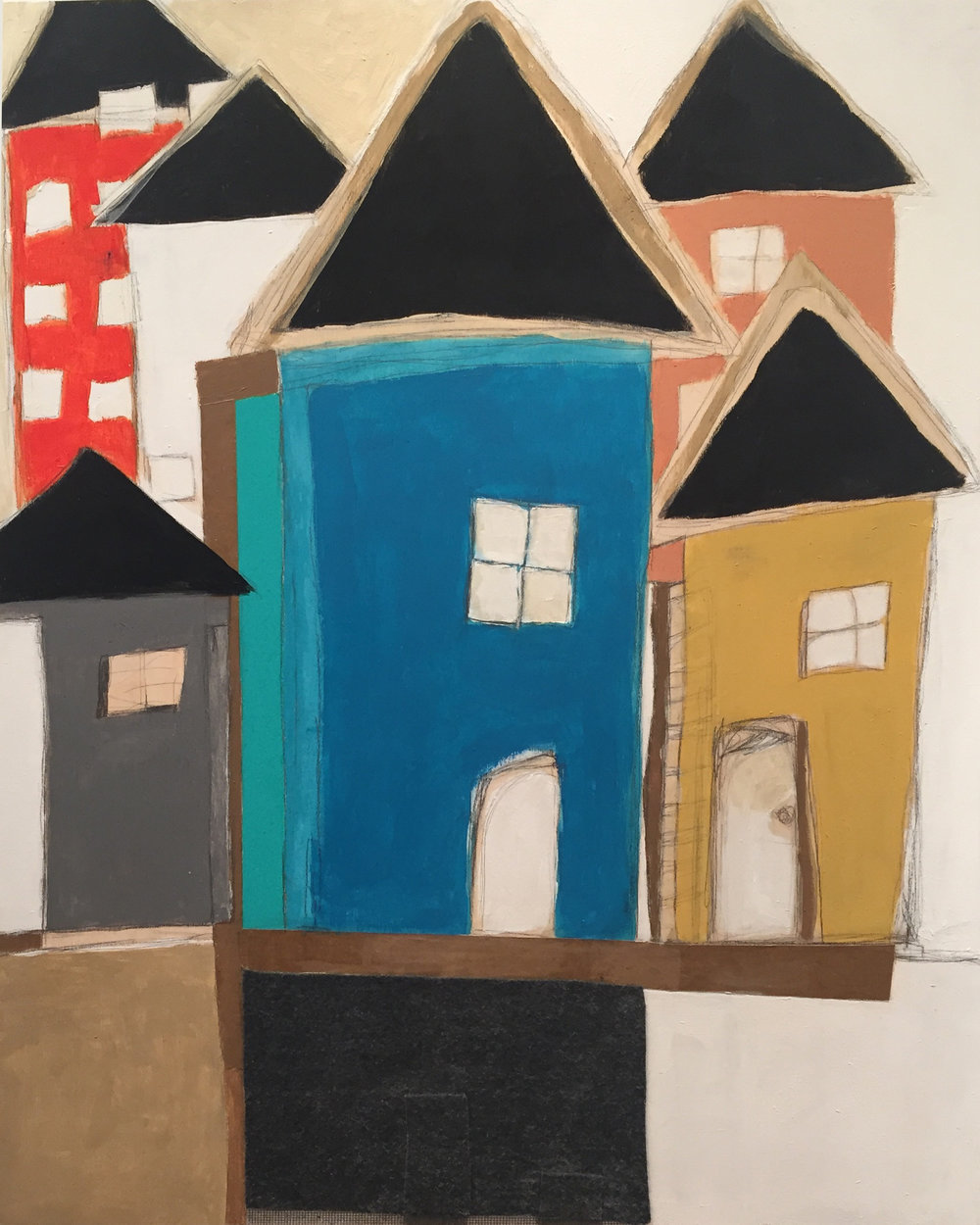 """Karla Quattrocchi ,  Vicinity #7 , oil, acrylic, pencil, pastel, crayon, felt, cardboard, tape, screen, tar, shellac on wood, 30"""" x 24"""", $1,800"""