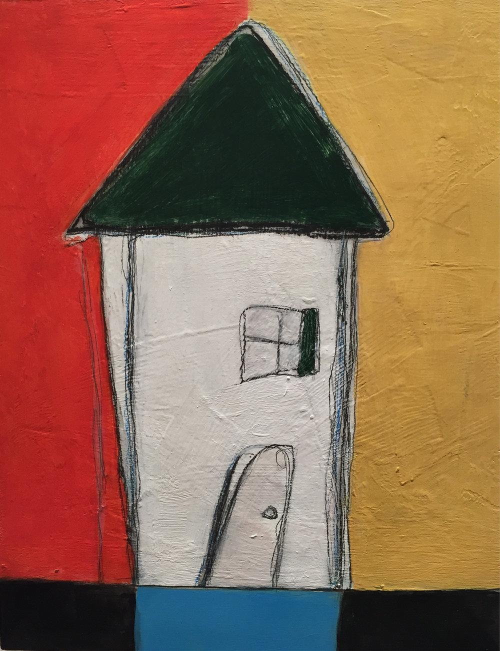 """Karla Quattrocchi ,  Vicinity #3 , oil, acrylic, pencil, pastel, crayon, tar, shellac on wood, 10"""" x 8"""", $450"""