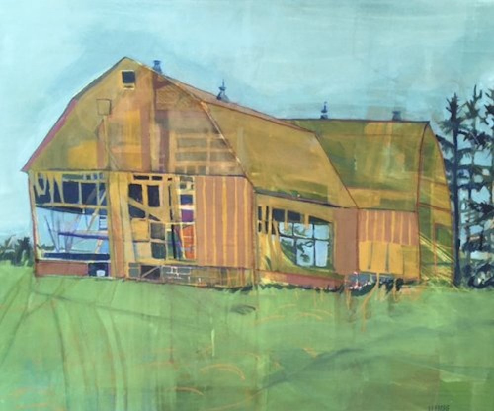 """North Country , acrylic and pastel on canvas, 33 3/4"""" x 39 3/4"""" framed, $1,950"""