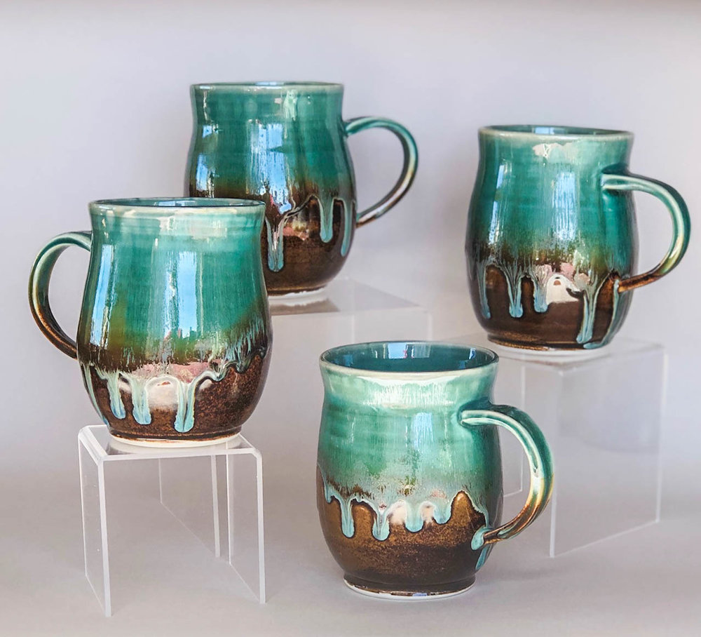 Turquoise drip mugs, wheel thrown porcelain, $42 each