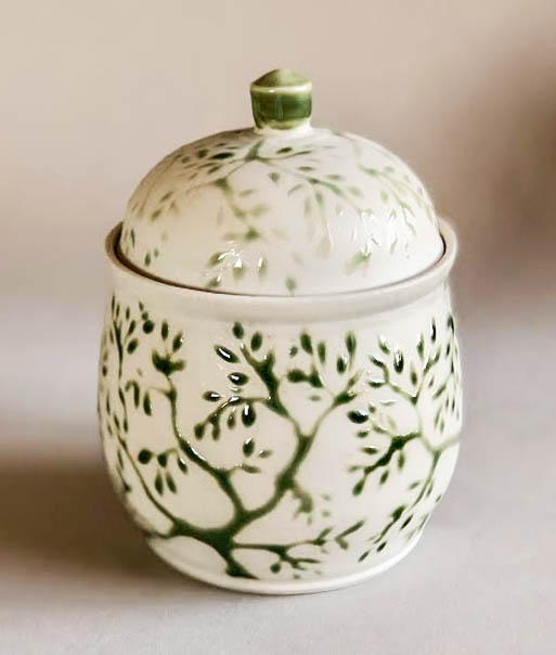 Spring jar, wheel thrown porcelain with spring branch design, $115