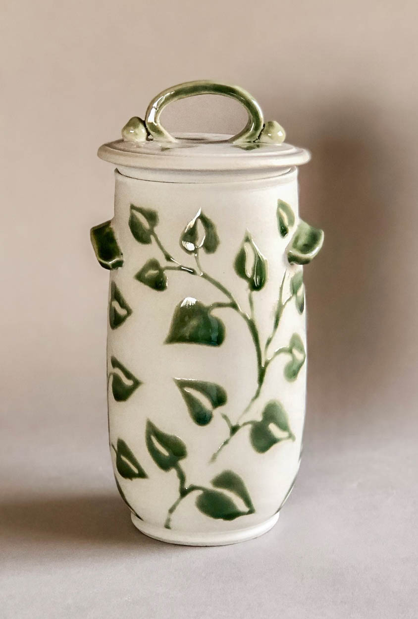 Vine tall jar, wheel thrown porcelain with vine design, $135