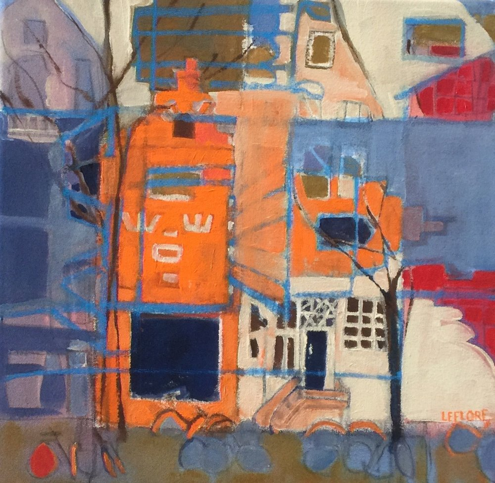 """Amsterdam IV , acrylic and pastel on canvas, 17 1/2"""" x 17 1/2"""" framed, $650"""