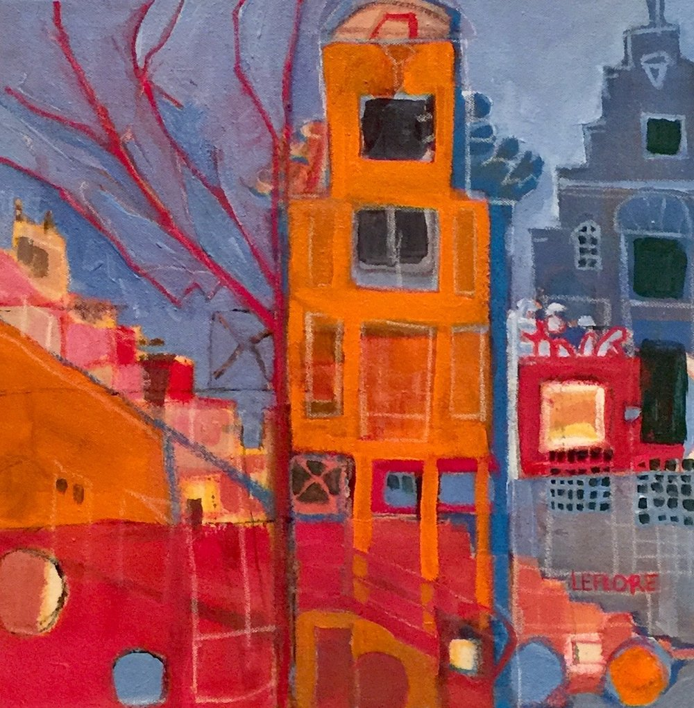 """Amsterdam V , acrylic and pastel on canvas, 15 1/2"""" x 15 1/2"""" framed, $575"""