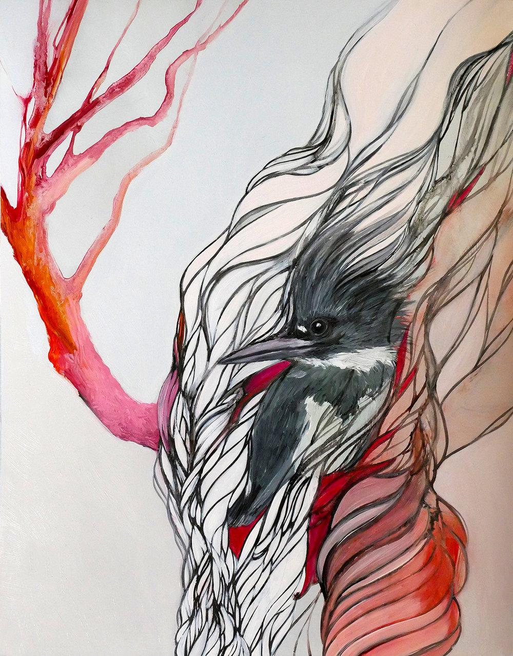 "Resa Blatman,  Kingfisher , oil on mylar, 14"" x 11"" framed, $1,100"
