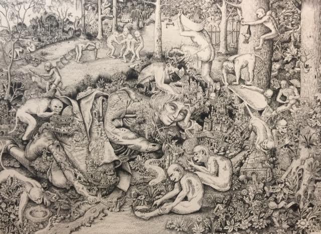 "John Campbell ,  Monkey Business , ink on paper, 17"" x 21"" framed, $1,800"