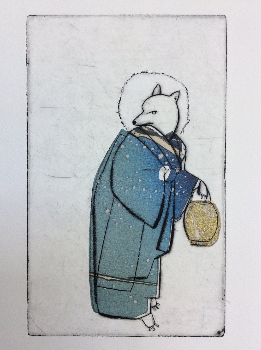 "Nancy Popper ,  Blue Kitsune , etching, drypoint, chine-collé, 13 1/4"" x 10 1/4"" framed, $400"