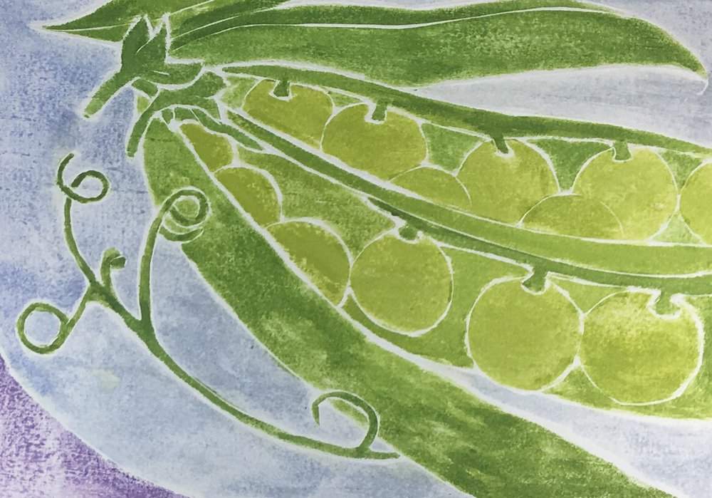 "Pea Pods , white line woodcut monoprint, 10 1/2"" x 12 1/4"" matted, $100"