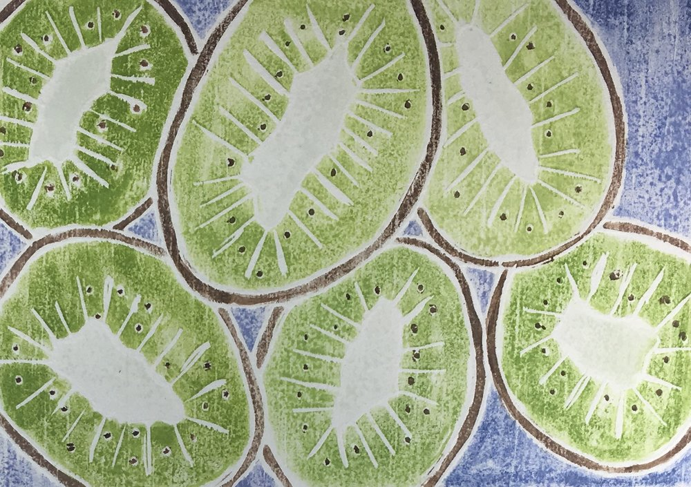 "Kiwi Cuts , white line woodcut monoprint, 10 1/2"" x 12 1/4"" matted, $100"
