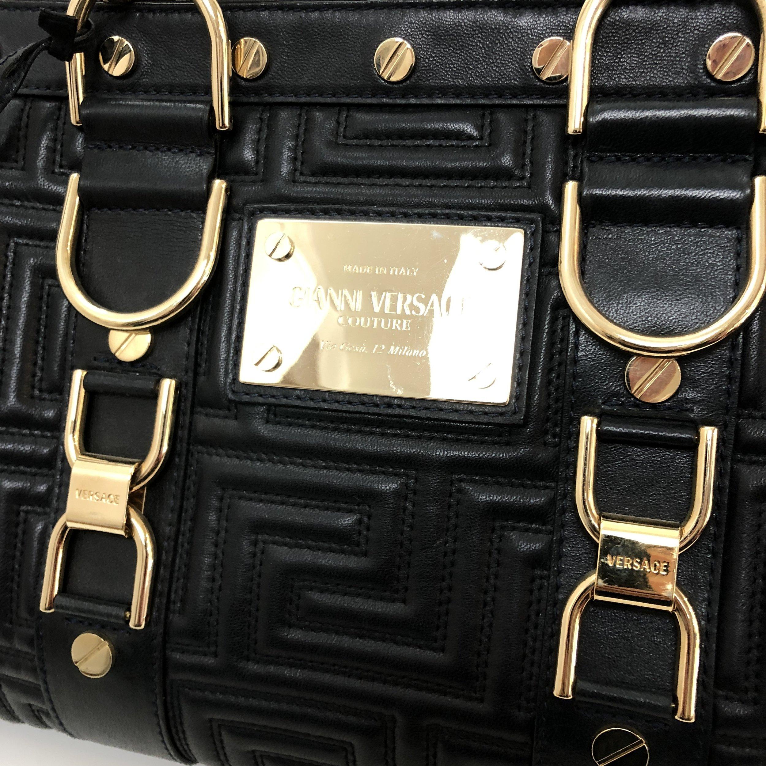 0d81733b0544 Gianni Versace Couture Black Leather Greek Quilt Satchel Handbag Gold  Hardware