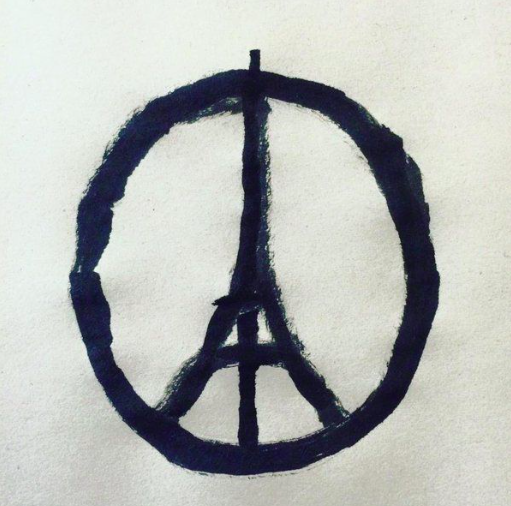 "Illustration by Jean Jullien's ""Peace for Paris"". Poem by Claudia Serea."