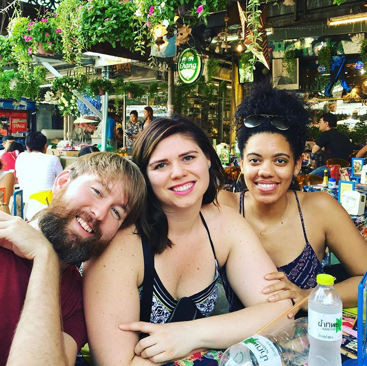 Lunch at the Chatachuk Market in Bangkok [ L to R: Brent, Natalie, Nikki }