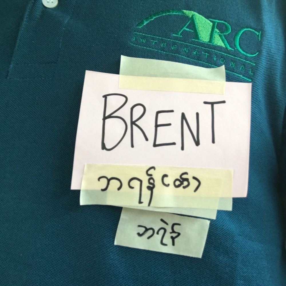 The HAUS Salon team wanted their name tags to be translated into Burmese and Karen. Kay Thi wrote them for us.