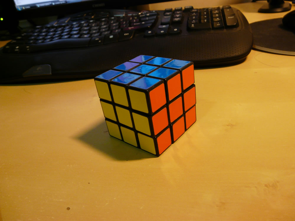 My cube - solved slightly more than 100 times at this point.