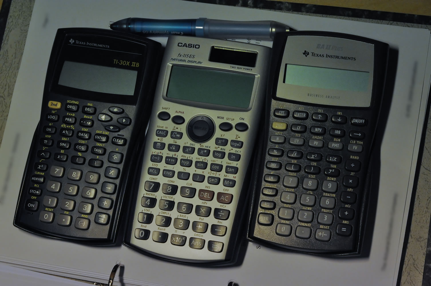 TI-30X IIB, Casio fx-115ES, TI BA II Plus