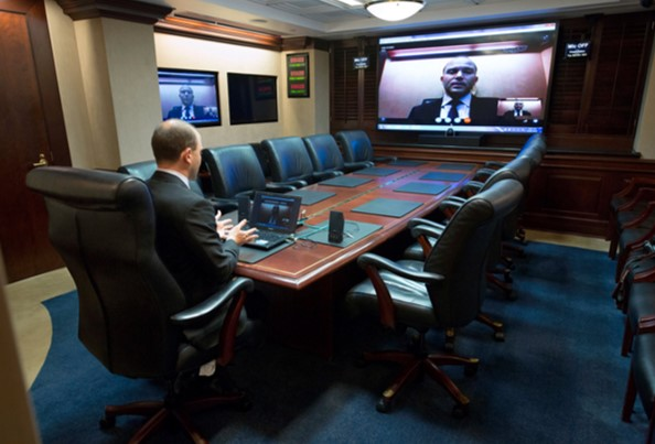 Ben Rhodes during a video conference in the White House Situation Room (Mills, 2016)