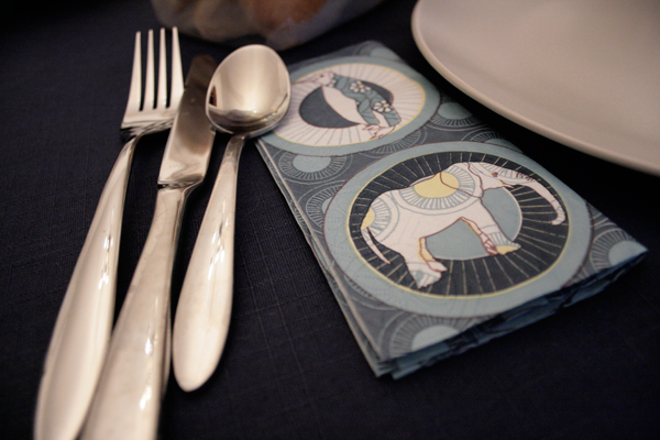 silverware and elephant napkin