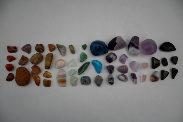 crystal stone collection rainbow color coordinated