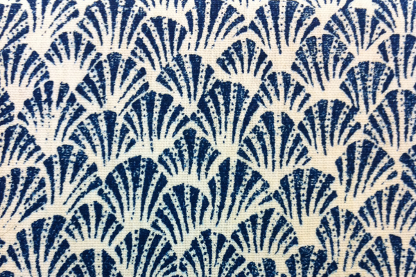 blue white shell print fabric