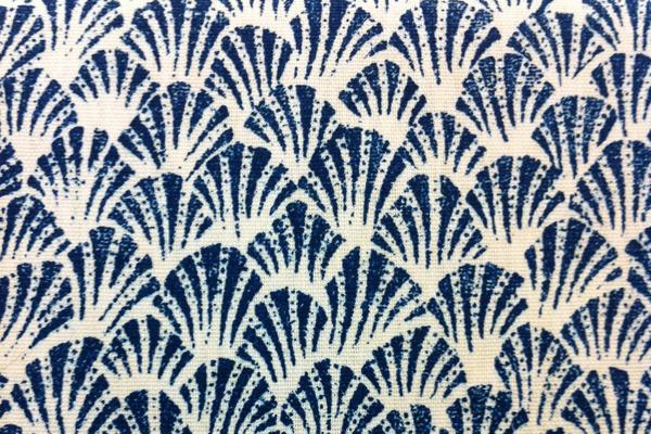 blue white shell print fabric