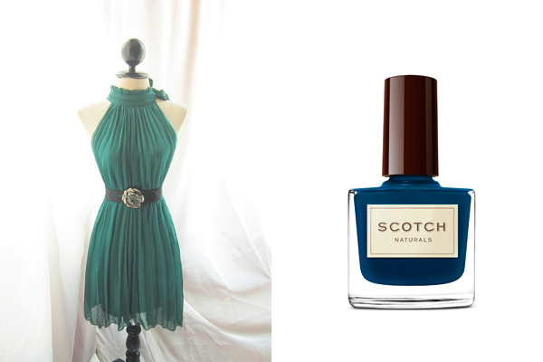 emerald green dress deep blue scotch nail polish
