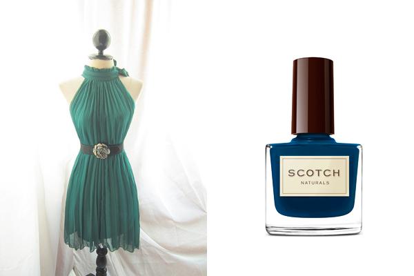 emerald green dress deep blue scotch nail polish