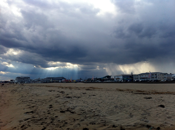 hampton beach new hampshire sun rays rain