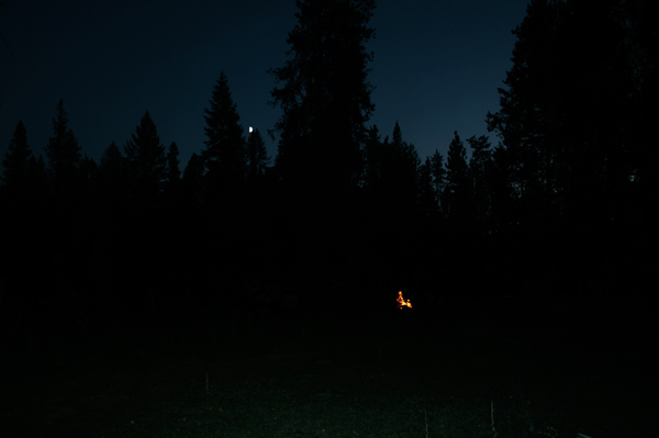 moon and campfire