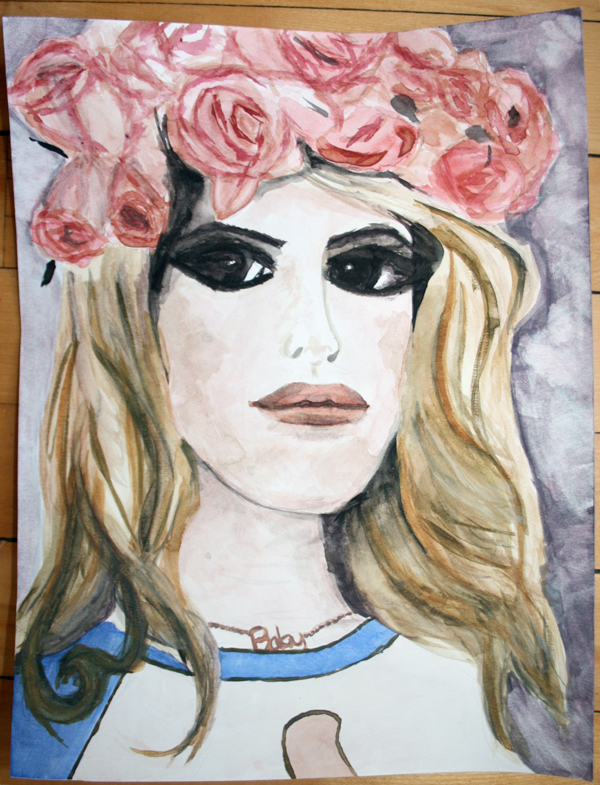 Lana Del Rey Watercolor Painting