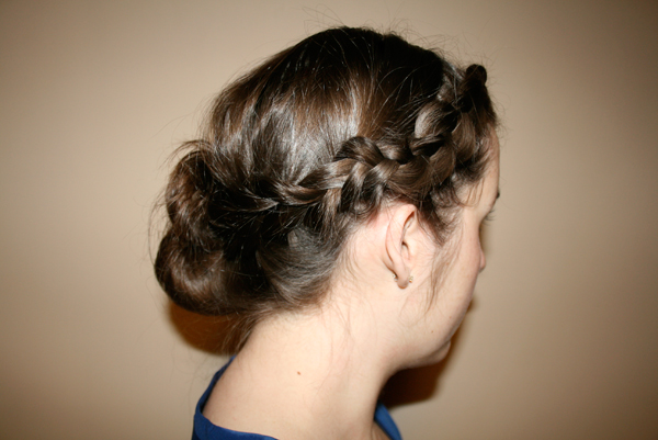braided bangs into side bun