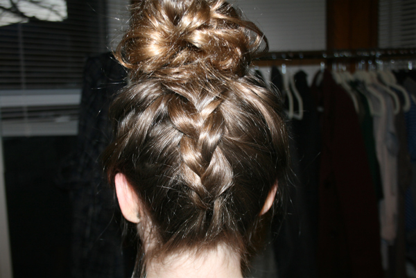 dutch braid into top bun