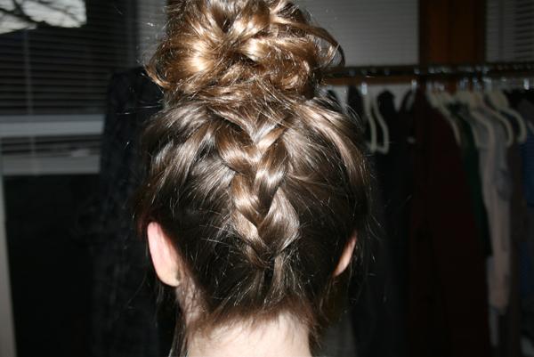 dutch braid into top bun