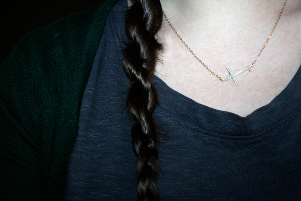 twisted rope braid on long brown hair
