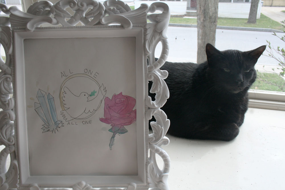 cat and framed watercolor painting