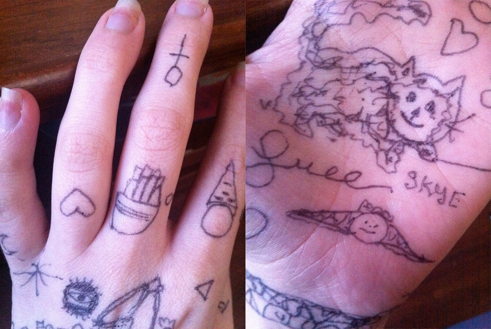 hand drawn tattoos in pen