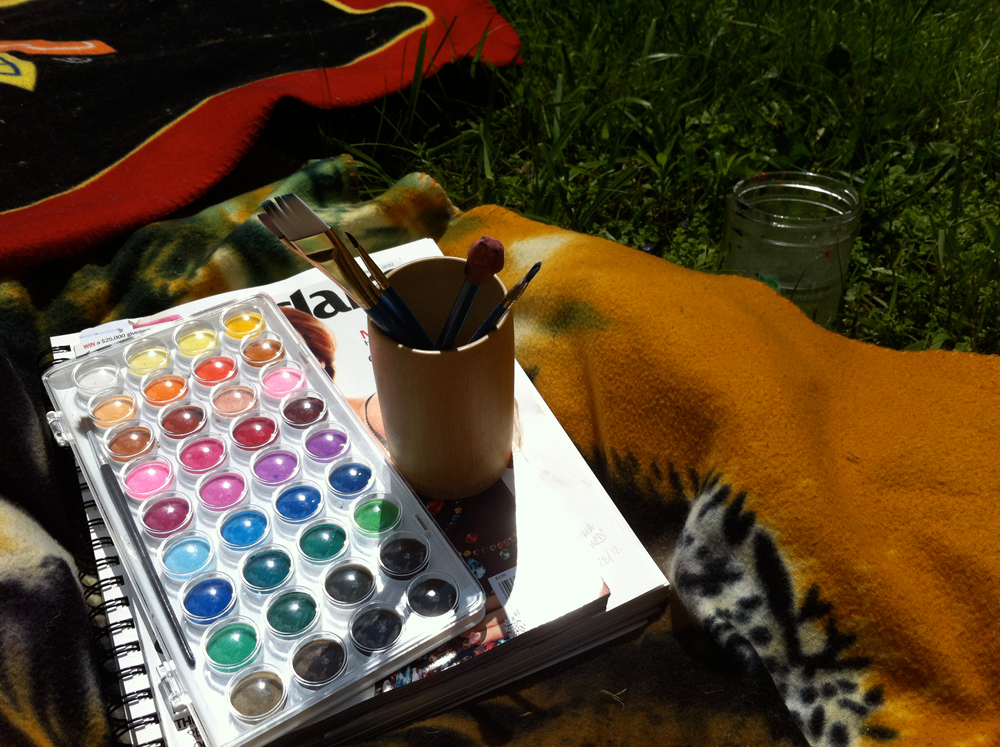 watercolor painting in the yard