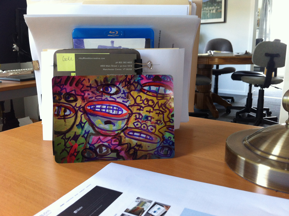 Goons postcard on desk