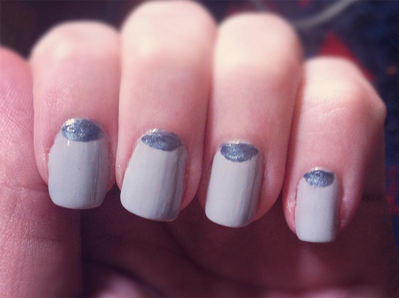 half moon lavender and gun metal grey polish