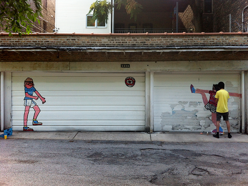 goons olympic soccer players street art on garage