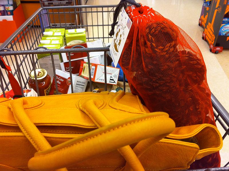shopping cart with handbag and cinnamon pinecones
