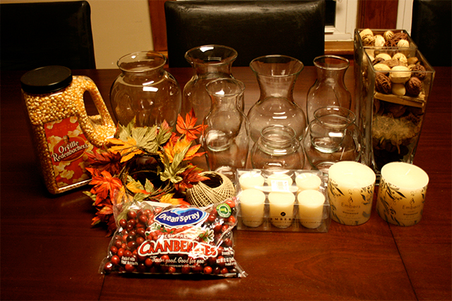 materials to make thanksgiving table decorations