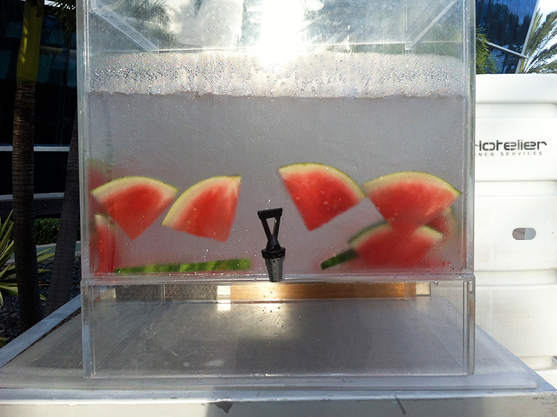 watermelon infused water at fountainebleau