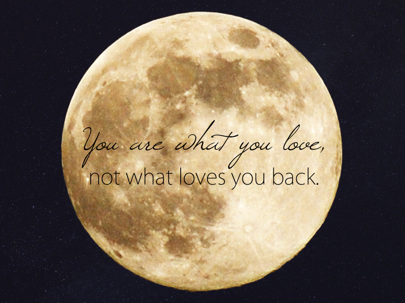 you are what you love, not what loves you back