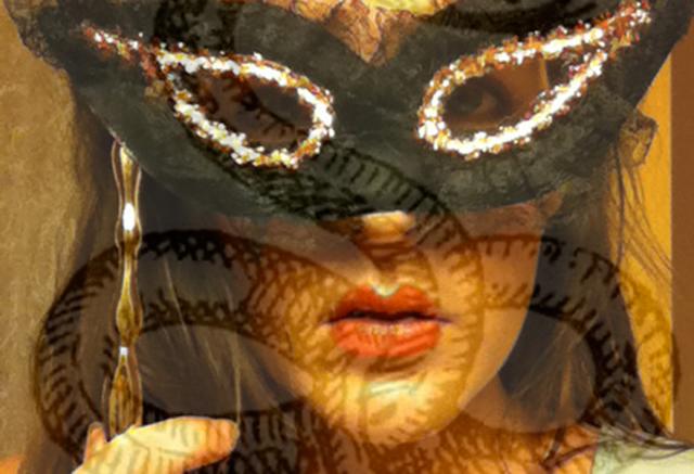 girl mask serpent lips