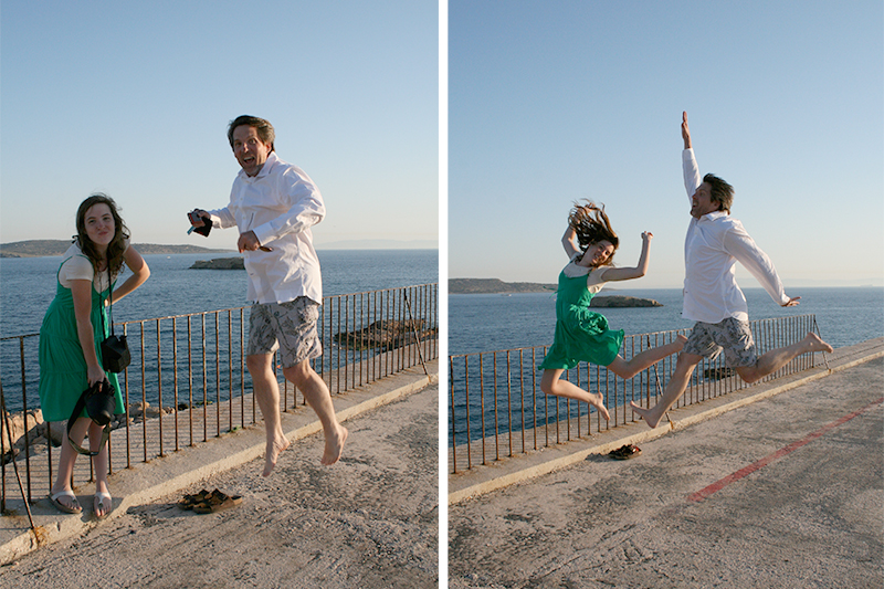 father daughter jumping photos by the sea